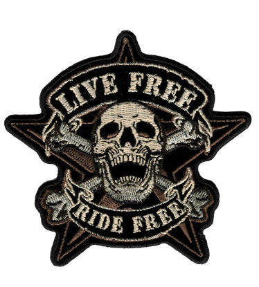 Imagine Emblema Live Free Skull Biker Patch 11cm/11cm